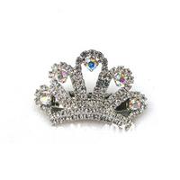 2014 new 6Pcs lot free shipping clear AB rhinestone dog crown charm pet barrette clip ornament