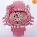 Free Shipping!Wholesale 5PC Fashion HelloKitty brand children Bracelet watch kitty watch with high quality,prompt delivery!!!