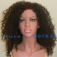 Hot DISC black kinky curl human hair lace front wig
