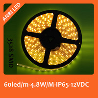 Free shipping LED flexible strip,SMD 3528,60led/m,5m/reel,5 water proof ,IP65,warm white
