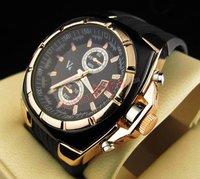 Free shipping wholesale Men's Sport Quartz Wrist Watch Black Band Black Dial Rubber Watches