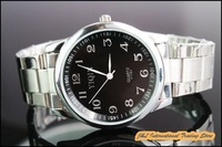 Free shipping, Men's fashion business watches, wrist quartz analog watch, steel band