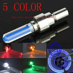 38pcs/lot Free shipping Stock sell 5 COLOR Flash Wheel Valve Cap Wheel Light MC01P free shipping(Hong Kong)