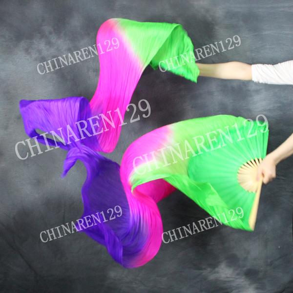 HAND MADE PAIRS 1.5M BELLY DANCE 100% SILK FAN VEILS GREEN PINK PURPLE(China (Mainland))