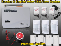 Russian and English voice intercom Home Security alarm system Wireless GSM alarm system Free shipping