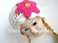 Free shipping wholesale 5 pcs/lot  Beautiful White Knitted Baby Cap,Winter Hat,original factory supply