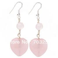 Rose Quartz Earrings Pink Earrings Lovely Heart Stone Earrings