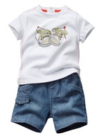 5sets/lot children boy's fashin summer short tees demin jean trouser 2pcs clothes set baby suit free shipping