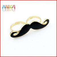 Free shipping~2012 wholesale lots sale christmas Handlebar Moustache Double Finger Ring #84169
