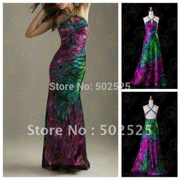 printing Fabirc Pleat and Beading Handwork Strapless Evening Dress OL101833