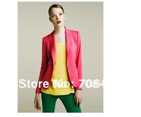 women's fashion classic Candy colors a button slim Outerwear & Coats jackets  Free shipping 1W4