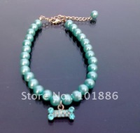 free shipping !wholesale,new sample,dog clothes necklace ,pearl , 10pcs/lot/per color/per size