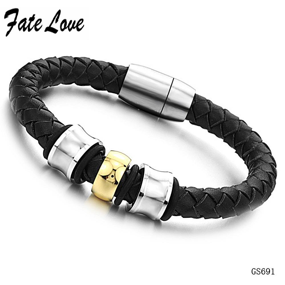 2014 new fashion s braided leather wrist bracelet with