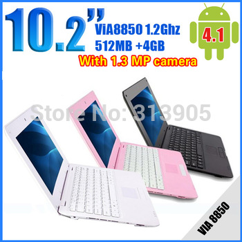 Wholesale Cheap 10 inch laptop VIA8850 1.2GHZ 512MB 4GB Android 4.1 Netbook MINI laptop WIFI webcamera HDMI three color