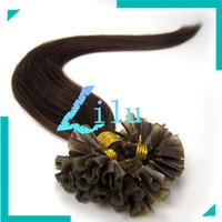 "free shipping 16""-26"" Pre-Bonded hair U Tip Keratin Glun Nail Tip Hair Extension Silky Straight weaves hair #04,100s"