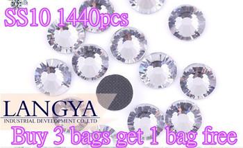 Buy 3 bags get 1bag free SS10 1440pcs Clear Crystal DMC HotFix FlatBack Strass Rhinestones Hot Fix Crystal Stones