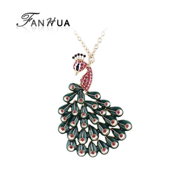 joyería de fantasía de colores de oro pavo real color de diamantes de imitación de aleación de imitación de cristal colgante collar última venta caliente