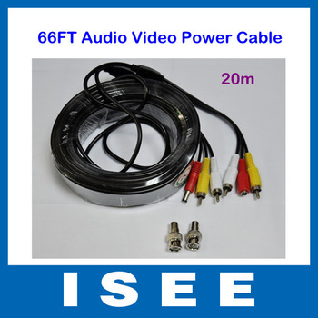 66FT 20M Audio Video Power AV Cable For CCTV Camera DVR with RCA BNC Adapters Free Shipping