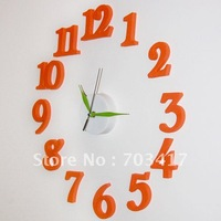 Fashion alarm , DIY , mute electronic wall clock, decorative , quartz clock,orange