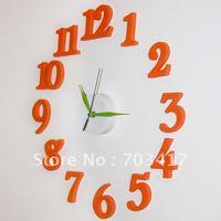 Fashion alarm , DIY , mute electronic wall clock, decorative , quartz clock,orange