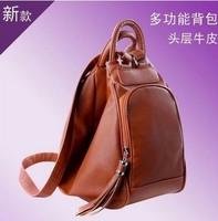 2014 new women girls kids GENUINE LEATHER dual function school bag shoulder bag backpack sport bag LF6495aa
