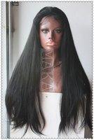 MOST Popular!!!    130% density Full Lace Wig 100% human hair  #1b natural black 24inch Silk Straight