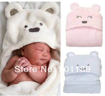 Wholesale top quality Carter's Bear Hooded Blankets Newborn Infant's swaddle/wrap baby parisarc 20pcs/lot