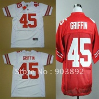Ncaa Ohio State Buckeyes #45 Archie GRIFFIN red/ white college football jerseys mix order free shipping