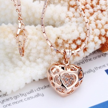 18KGP N002 N020 Multi-Heart Fashion Jewelry,18K gold plated Necklace Pendant Nickel Free Crystal  elements Two color