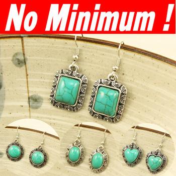 Vintage Turquoise gem stones drop Earrings Turquoise stone for women 2013 bohemian  retro topshop ers-f38