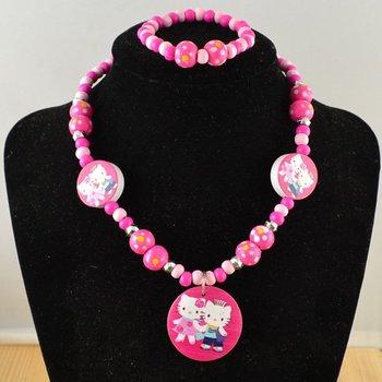 Free shipping Children jewelry !children/kid jewelry set handmade jewellery cute kitty necklace and bracelet CS44
