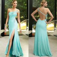 One Shoulder Backless Off Shoulder Floor Length Sexy Evening Dress Formal Evening Gown 2014