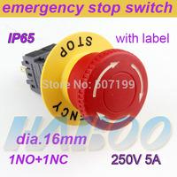 HABOO HBA16-F dia.16mm electrical mushroom emergency stop push button switch 1NO+1NC
