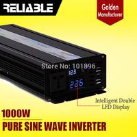 CRAZY SALES!! Free Shipping 1000 Watt 12v 24v 48v dc to 110v 220v ac LED DISPLAY 1000w Pure Sine Wave DC TO AC Inverter