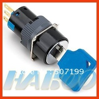 low shipping cost,dia.16mm 2 positions waterproof key lock push button switch ROHS goldplating contacts and pins