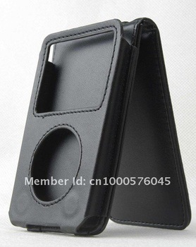 China Post free shipping 2 pcs/lot black Leather protective Case For iPod  Video classic 80G and 120G with movable clip