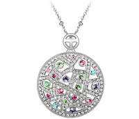 Big Round Necklace 18K Gold Plated Austrian Colorful Crystal Necklaces Pendants For Women Vintage Brand Jewelry  3546