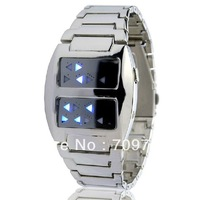 Free Shipping Cool Men Classic Sivler Stainless Steel Binary LED Digital Wrist Watches
