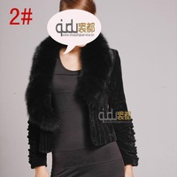 QD5899 Genuine Leather jacket  with Natural Fox Fur Collar Winter Charm Outerwear Garment Women Clothing