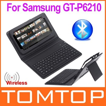 "New Arrival!Wireless Bluetooth Keyboard + Leather Case Stand for Samsung Galaxy Tab 7"" GT-P6210, Free Shipping+Drop Shipping"