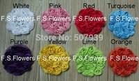 8CM chic chiffon flower trim,chiffon flower,hair accessories,garment accessories,500pcs/lot,16 stock colors for free selection