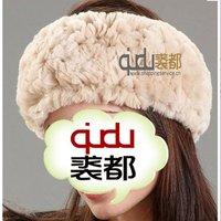 QDTD001 Genuine Women Rex Rabbit Fur Headband charm winter neckwear women coiffure /Hor sale/WholeSale/Retail/Free Shipping/OEM