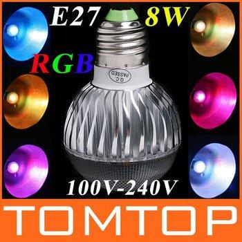 AC 100-240V RGB LED Bulb 8W E27 led Lamp with Remote Control led lighting wholesale dropshipping free shipping