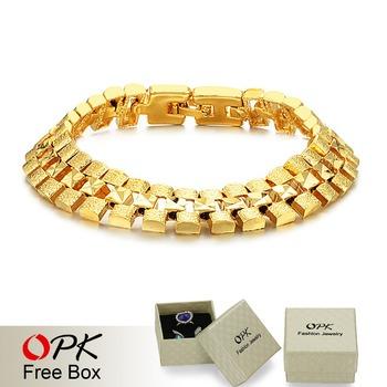 OPK JEWELRY Box Packing! Brand Design 18K gold plated Chunky bracelets 12mm X 18.5cm luxury Wedding Jewelry, FREE SHIPPING 742