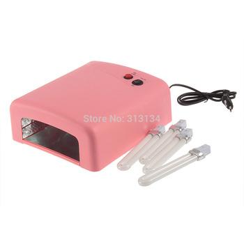 1set Professional 36w EU Plug UV Lamp 220v Gel Curing Nail Art Light Nail Dryer with 4pcs 365nm Bulb