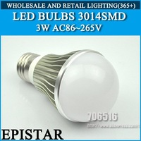 LED Bulbs E27 3W Epistar 3014SMD 30pcs 330lm AC85-265V Warm White / Cool White Free Shipping/DHL