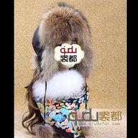 Winter Genuine Real Raccoon Fur Hat with Earflap Women Fur Caps Lady Warm Headgear Accessories QD6058