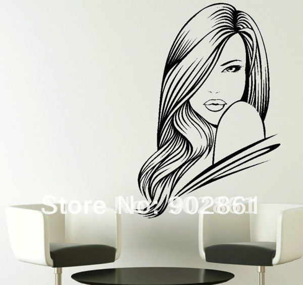 funlife] 55x80cm SEXY WOMAN SALON HAIR BEAUTY WALL ART STICKER ...