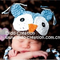 Free shipping HB22 Handmade Crochet Baby Toddler's animal owl hat winter hat 1 lot 2 pcs