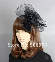free shipping Wholesale 2pcs/lot feather women Wedding hat hairpin hair clips face veil fascinator top hats
